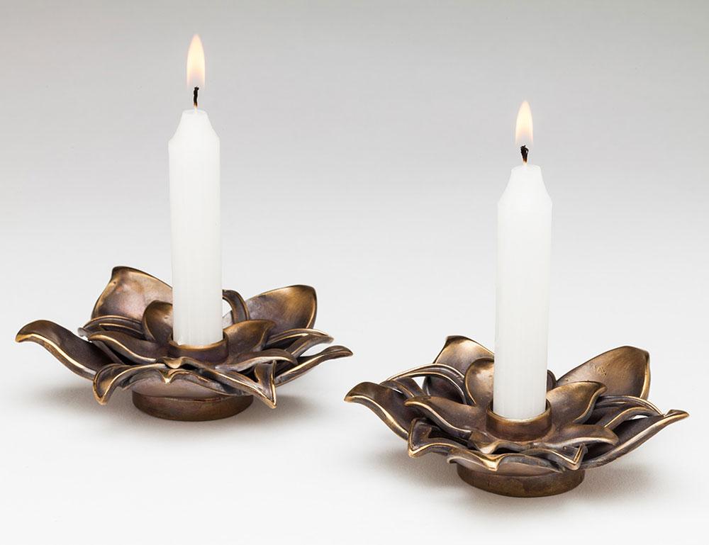 Lotus Flower Shabbat Candle Holders Solid Bronze Aimee Golant