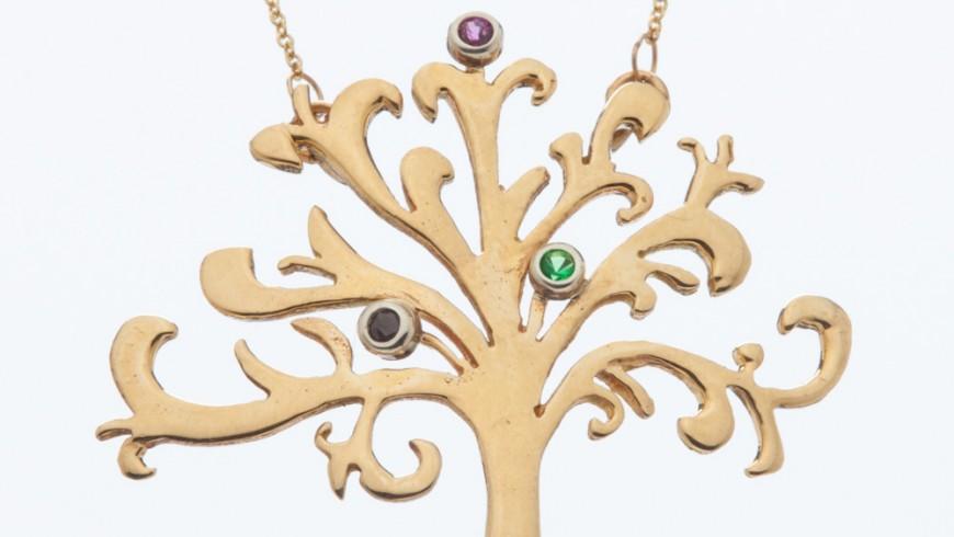 Shin Tree of Life Gold Pendant with Multi-Stones