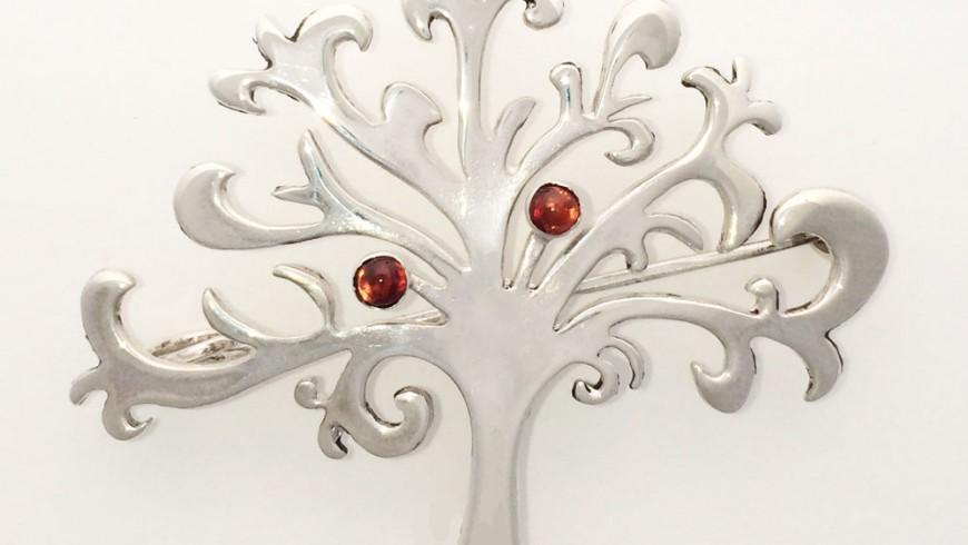 Large Shin Tree of Life Brooch with 3 Garnets