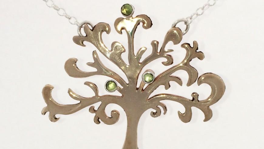 Large Shin Tree of Life Necklace Bronze and Peridot