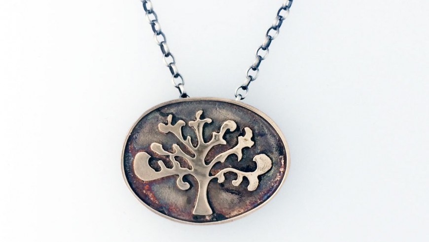 Shin Tree of Life Oval Necklace – Bronze and Silver